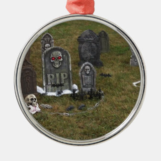 Halloween Grave Yard with Tombstones Round Metal Christmas Ornament