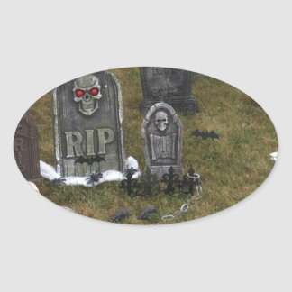 Halloween Grave Yard with Tombstones Oval Sticker