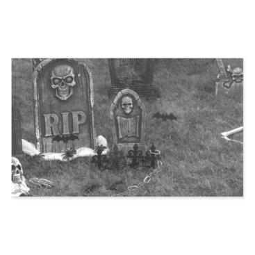 Halloween Themed Halloween Grave Yard with Tombstones Rectangular Sticker
