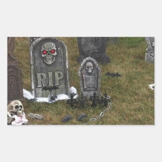 Halloween Grave Yard with Tombstones Rectangular Sticker