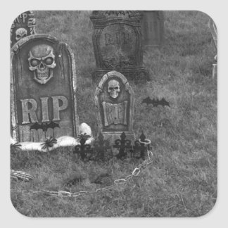 Halloween Grave Yard with Tombstones Square Sticker