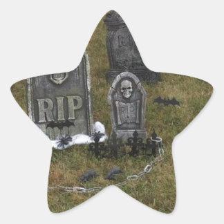 Halloween Grave Yard with Tombstones Star Sticker