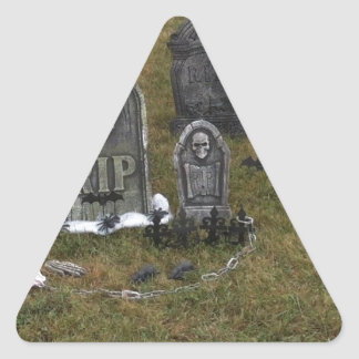 Halloween Grave Yard with Tombstones Triangle Sticker