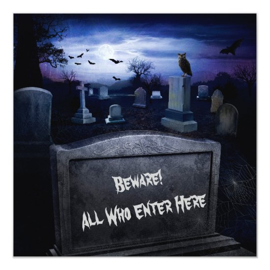 Halloween Graveyard Bats Owl Tombstones Invitation