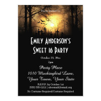 Halloween Graveyard Costume Sweet 16 Birthday Invitation