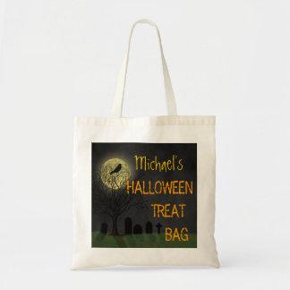 Halloween - Graveyard Crow and Moon Custom Name Tote Bag