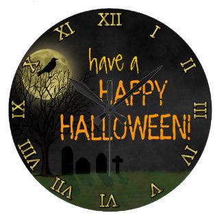 Halloween - Graveyard Crow and Moon Custom Text Large Clock