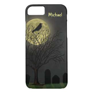 Halloween Graveyard Crow and Moon iPhone 8/7 Case