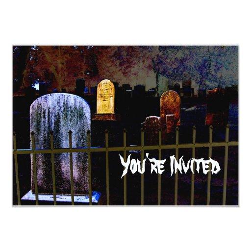 "Halloween Graveyard Party Invitation 5"" X 7"" Invitation Card"