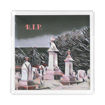 Halloween Themed Halloween Graveyard RIP Party Supplies Acrylic Tray