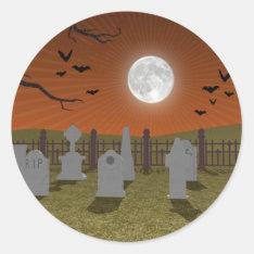 Halloween: Graveyard Scene: Classic Round Sticker at Zazzle
