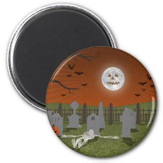 Halloween: Graveyard Scene: 2 Inch Round Magnet