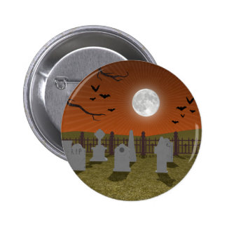 Halloween: Graveyard Scene: Pinback Button