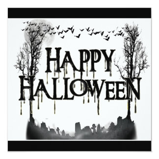 Halloween Graveyard Scene Silhouette Personalized Announcements