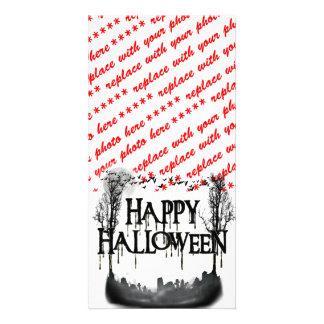 Halloween Graveyard Scene Silhouette Photo Card