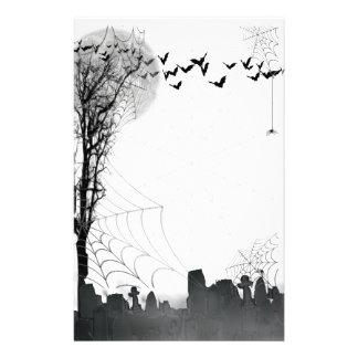 Halloween Graveyard Scene Silhouette Stationery