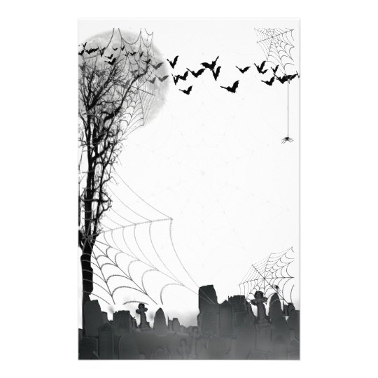 Halloween Graveyard Scene Silhouette Stationery Zazzle