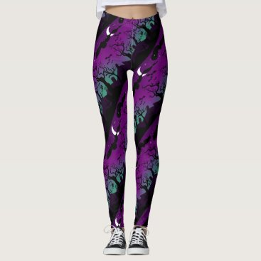 Halloween Themed Halloween graveyard scenery purple and aqua leggings