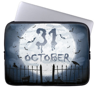 Halloween graveyard scenes 31 october computer sleeve