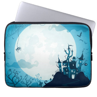Halloween graveyard scenes haunted ghost house computer sleeve