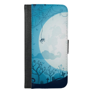 Halloween graveyard scenes haunted ghost house iPhone 6/6s plus wallet case