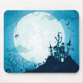 Halloween graveyard scenes haunted ghost house mouse pad