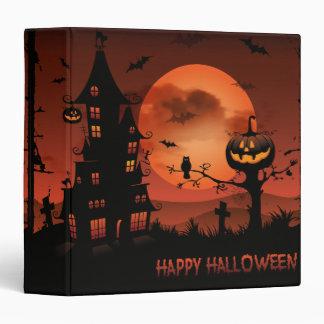 Halloween graveyard scenes pumpkin bats moon binder