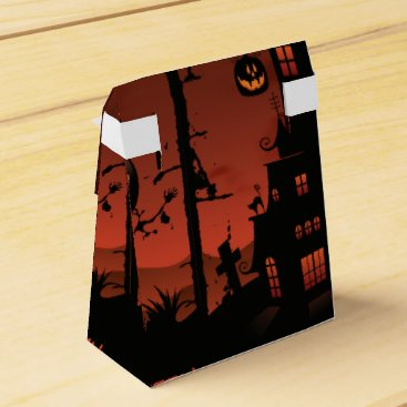 Halloween Themed Halloween graveyard scenes pumpkin bats moon favor box