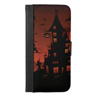Halloween graveyard scenes pumpkin bats moon iPhone 6/6s plus wallet case