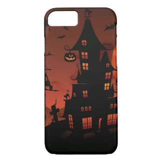 Halloween graveyard scenes pumpkin bats moon iPhone 8/7 case