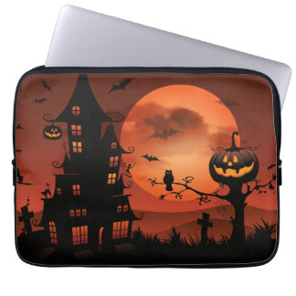 Halloween graveyard scenes pumpkin bats moon laptop sleeve