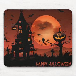 Halloween graveyard scenes pumpkin bats moon mouse pad
