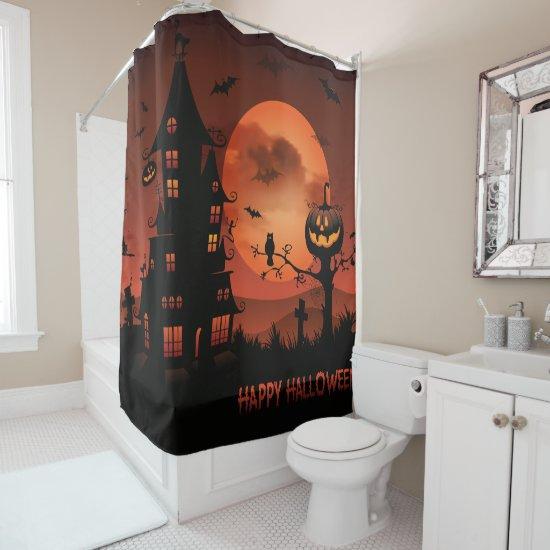 Halloween graveyard scenes pumpkin bats moon shower curtain