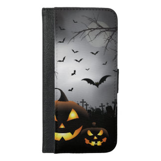 Halloween graveyard scenes pumpkin haunted house iPhone 6/6s plus wallet case