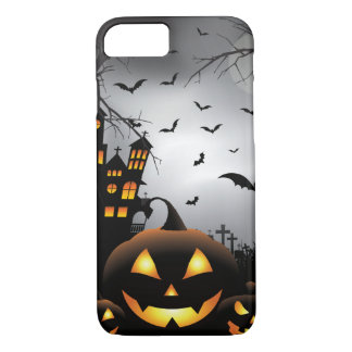 Halloween graveyard scenes pumpkin haunted house iPhone 8/7 case