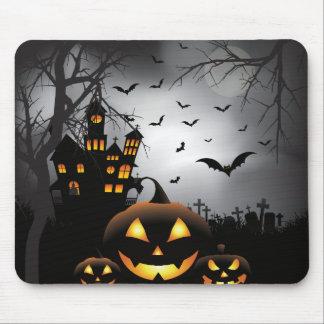 Halloween graveyard scenes pumpkin haunted house mouse pad