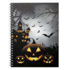 Halloween graveyard scenes pumpkin haunted house notebook