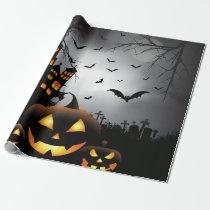 Halloween graveyard scenes pumpkin haunted house wrapping paper
