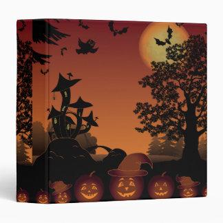 Halloween graveyard scenes pumpkins bats moon binder