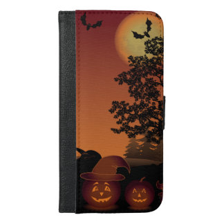 Halloween graveyard scenes pumpkins bats moon iPhone 6/6s plus wallet case