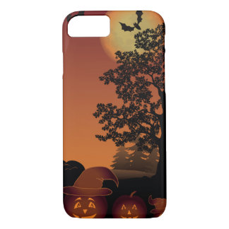 Halloween graveyard scenes pumpkins bats moon iPhone 8/7 case