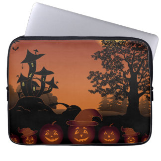 Halloween graveyard scenes pumpkins bats moon laptop sleeve