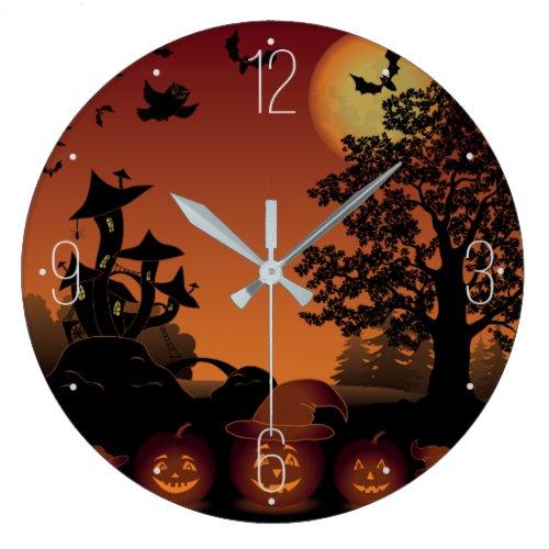 Halloween graveyard scenes pumpkins bats moon large clock