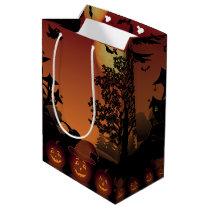 Halloween graveyard scenes pumpkins bats moon medium gift bag