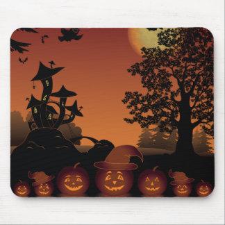 Halloween graveyard scenes pumpkins bats moon mouse pad