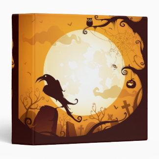 Halloween graveyard scenes, raven, pumpkin, spider binder