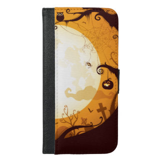 Halloween graveyard scenes, raven, pumpkin, spider iPhone 6/6s plus wallet case