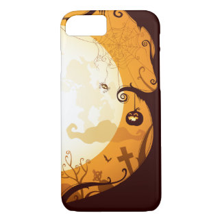 Halloween graveyard scenes, raven, pumpkin, spider iPhone 8/7 case