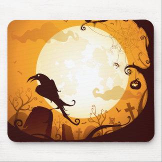 Halloween graveyard scenes, raven, pumpkin, spider mouse pad