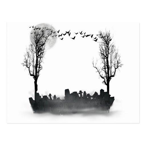 Halloween Graveyard Silhouette Postcard
